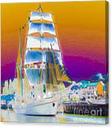 White Sails Ship And Colorful Background Canvas Print