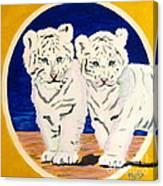 White Tiger Twins Canvas Print