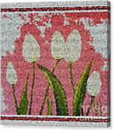 White Tulips On Pink In Stained Glass Canvas Print