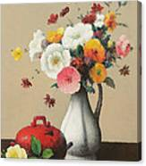 White Vase And Red Box Canvas Print