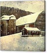White Winter Barn Canvas Print