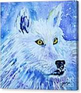 White Wolf - Aurora Nights In Blues - Square Canvas Print