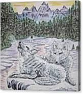 White Wolves Canvas Print