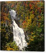 Whitewater Falls With Fall Leaves - North Carolina Waterfalls Series Canvas Print