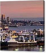 Wider Seattle Skyline And Rainier At Sunset From Magnolia Canvas Print