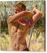 Wielding His Sword Canvas Print