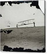 The Wright Brothers Wilbur In Motion At Left Holding One End Of Glider Canvas Print