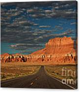 Wild Horse Butte And Road Goblin Valley Utah Canvas Print