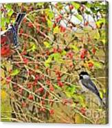 Wild Red Berrie Bush With Birds - Digital Paint Canvas Print