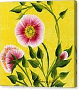 Wild Roses On Yellow Canvas Print