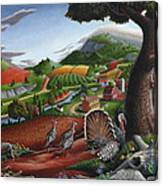 Wild Turkeys Appalachian Thanksgiving Landscape - Childhood Memories - Country Life - Americana Canvas Print