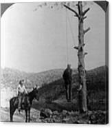 Wild West. Sheriff On Horseback Looking Canvas Print