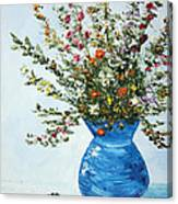 Wildflowers In A Blue Vase Canvas Print