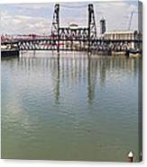 Willamette River View From Burnside Bridge Canvas Print
