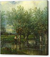 Willows With A Man Fishing Canvas Print