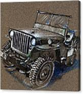 Willys Car Drawing Canvas Print