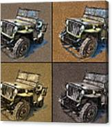 Willys Jeep Mb Car Drawing Canvas Print