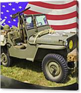 Willys World War Two Army Jeep And American Flag Canvas Print