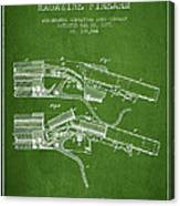 Winchester Firearm Patent Drawing From 1877 - Green Canvas Print