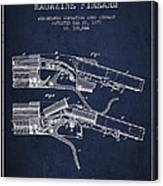 Winchester Firearm Patent Drawing From 1877 - Navy Blue Canvas Print