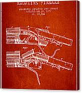 Winchester Firearm Patent Drawing From 1877 - Red Canvas Print