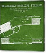 Winchester Firearm Patent Drawing From 1888- Green Canvas Print