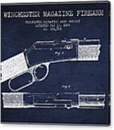Winchester Firearm Patent Drawing From 1888- Navy Blue Canvas Print