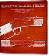 Winchester Firearm Patent Drawing From 1888- Red Canvas Print