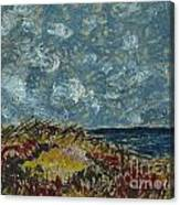 Wind Blowing The Clouds Around Over The Sea. Rincon Ventura California Canvas Print