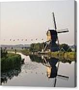 Wind Mill On A Canal, Holland Canvas Print