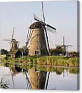 Wind Mills Next To Canal, Holland Canvas Print