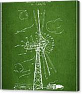 Wind Turbine Patent From 1944 - Green Canvas Print