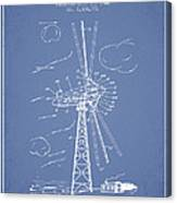 Wind Turbine Patent From 1944 - Light Blue Canvas Print