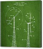Wind Turbine Rotor Blade Patent From 1995 - Green Canvas Print