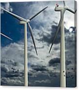 Wind Turbines Blue Sky Canvas Print