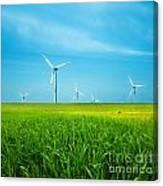 Wind Turbines On Green Field Canvas Print