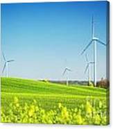 Wind Turbines On Spring Field Canvas Print