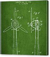 Wind Turbines Patent From 1984 - Green Canvas Print