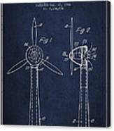 Wind Turbines Patent From 1984 - Navy Blue Canvas Print
