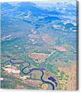 Winding River From The Seaplane In Katmai National Preserve-alaska Canvas Print