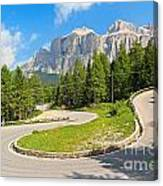 Winding Road To Pordoi Pass Canvas Print