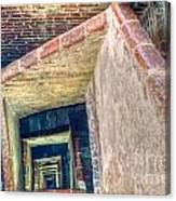 Winding Square Staircase Of Old Brick-walled Tower Canvas Print