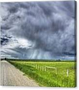 Windmill And Country Road With Storm Canvas Print