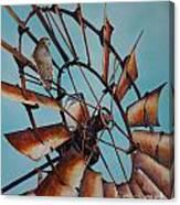 Windmill And Hawk Canvas Print