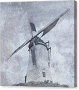 Windmill At Damme In Belgium Countryside Canvas Print