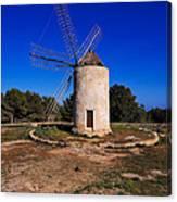 Windmill In El Pilar De La Mola On Formentera Canvas Print