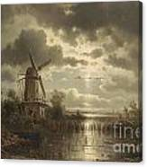 Windmill In The Moonlight Canvas Print