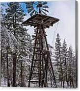 Windmill In The Snow Canvas Print