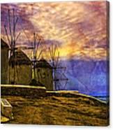 Windmills In Mykonos Canvas Print
