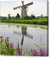 Windmills Of Kinderdijk With Flowers Canvas Print